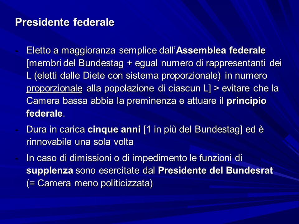 Presidente federale -Eletto a maggioranza semplice dallAssemblea federale [membri del Bundestag + egual numero di rappresentanti dei L (eletti dalle D
