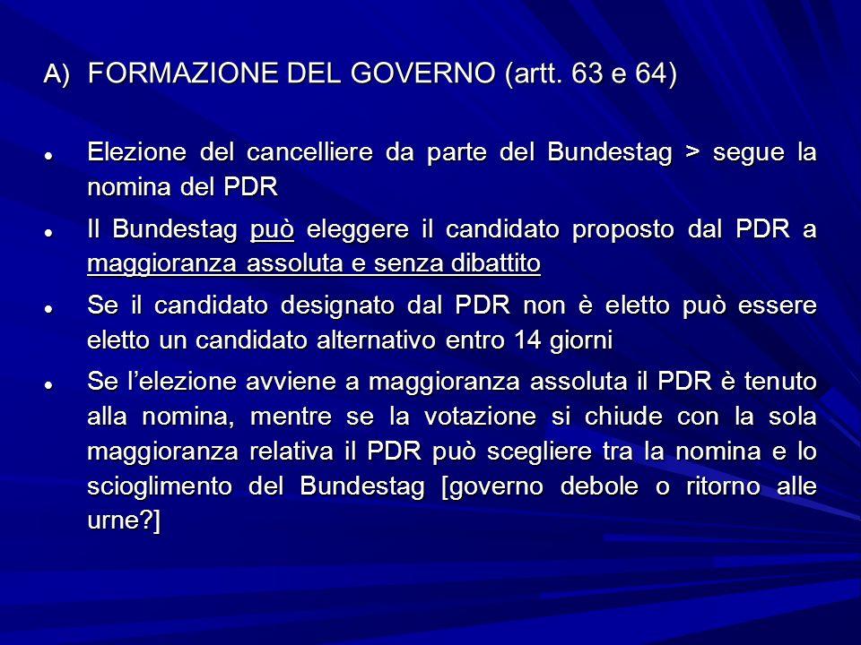 A) FORMAZIONE DEL GOVERNO (artt. 63 e 64) Elezione del cancelliere da parte del Bundestag > segue la nomina del PDR Elezione del cancelliere da parte