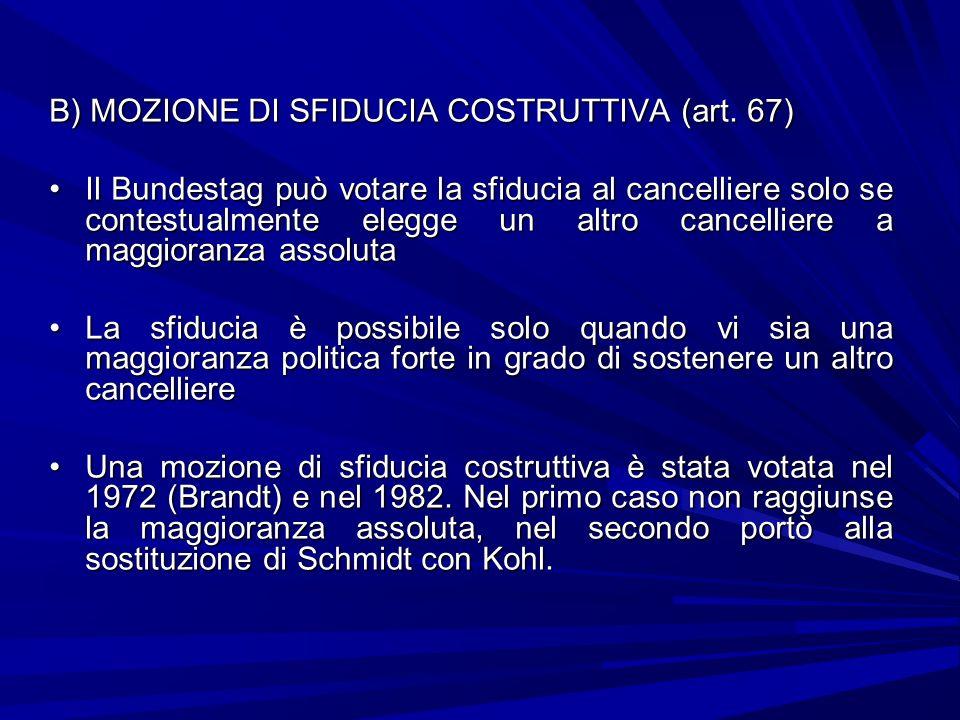 B) MOZIONE DI SFIDUCIA COSTRUTTIVA (art. 67) Il Bundestag può votare la sfiducia al cancelliere solo se contestualmente elegge un altro cancelliere a