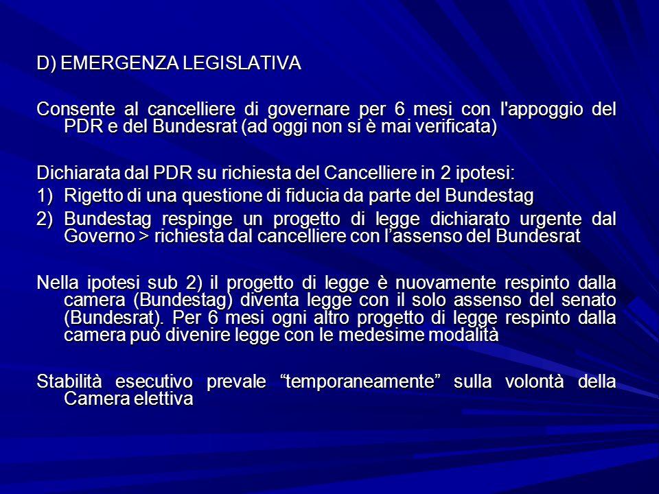 D) EMERGENZA LEGISLATIVA Consente al cancelliere di governare per 6 mesi con l'appoggio del PDR e del Bundesrat (ad oggi non si è mai verificata) Dich