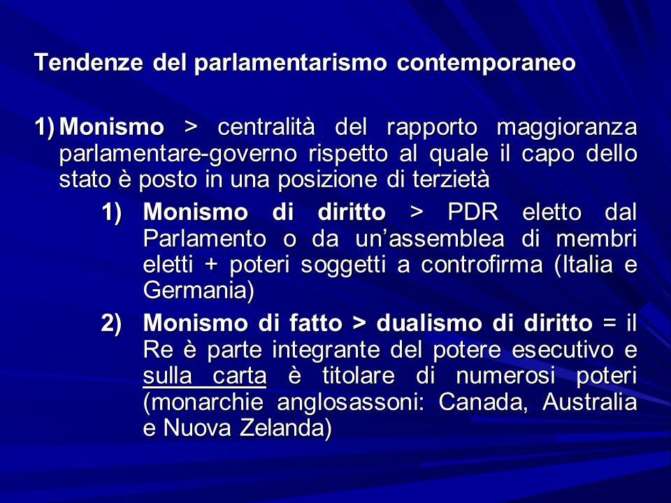 Tendenze del parlamentarismo contemporaneo 1)Monismo > centralità del rapporto maggioranza parlamentare-governo rispetto al quale il capo dello stato