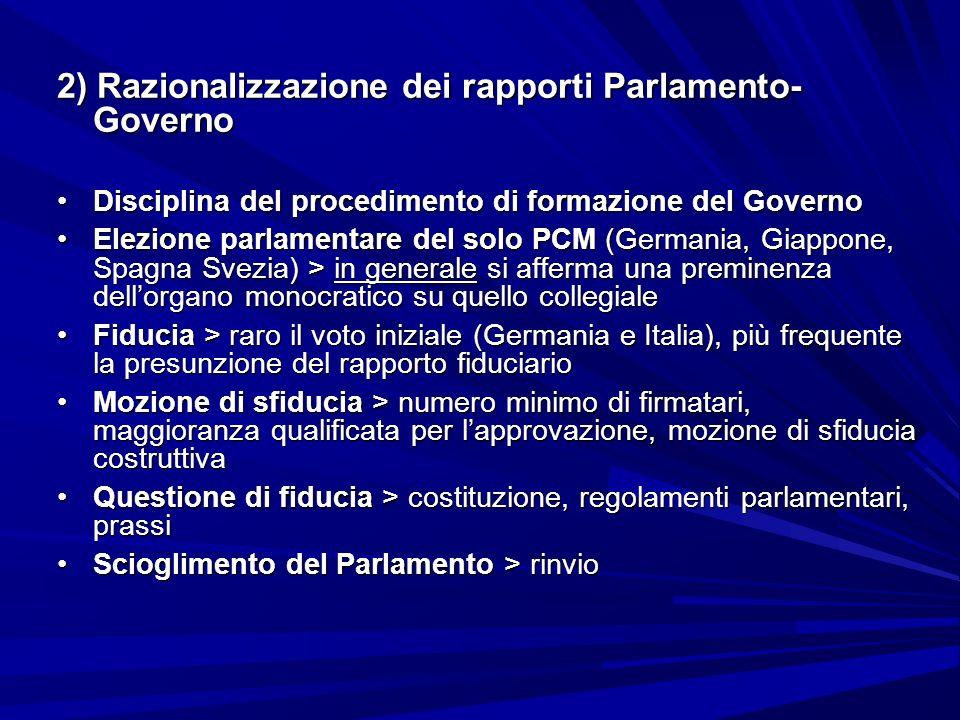 2) Razionalizzazione dei rapporti Parlamento- Governo Disciplina del procedimento di formazione del GovernoDisciplina del procedimento di formazione d