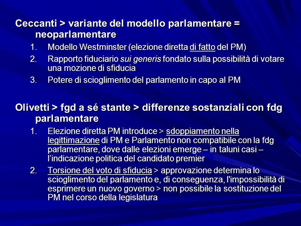Ceccanti > variante del modello parlamentare = neoparlamentare 1.Modello Westminster (elezione diretta di fatto del PM) 2.Rapporto fiduciario sui gene