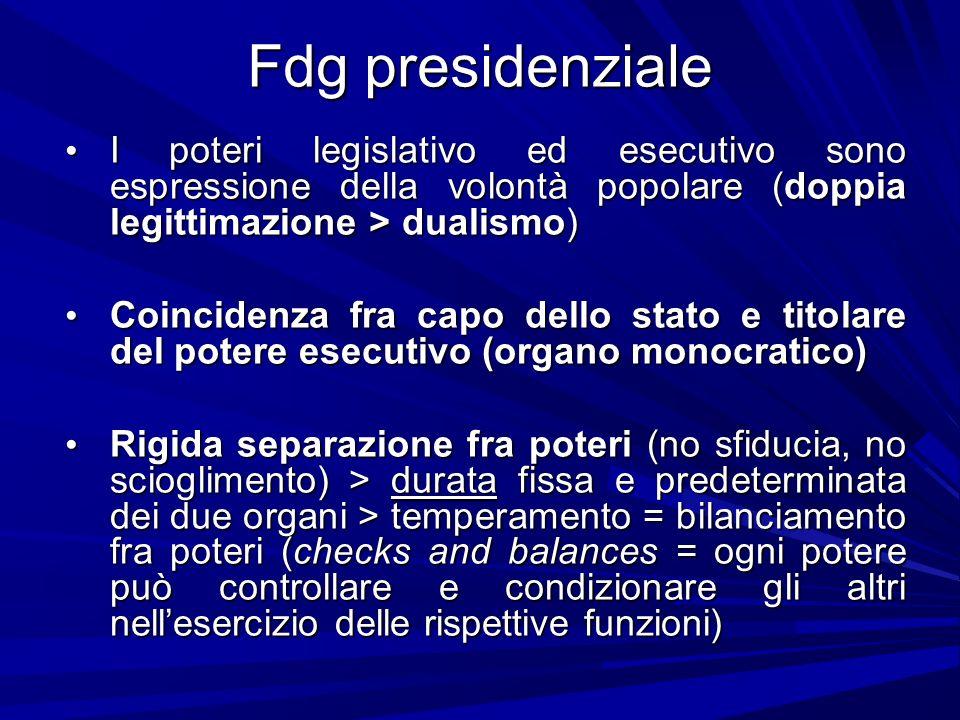 Fdg presidenziale I poteri legislativo ed esecutivo sono espressione della volontà popolare (doppia legittimazione > dualismo) I poteri legislativo ed