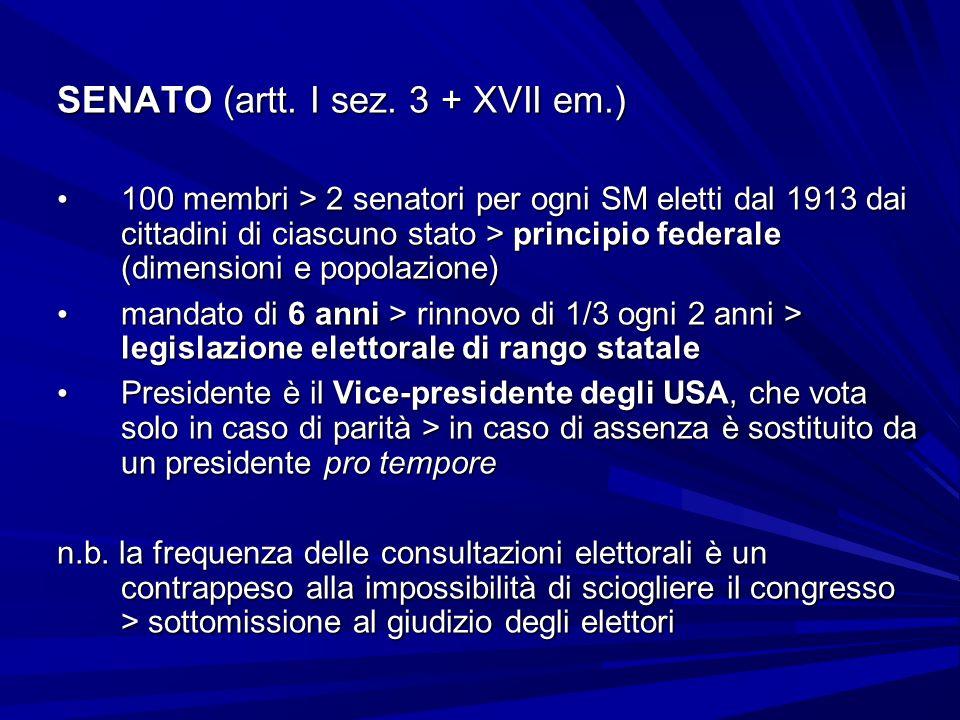 SENATO (artt. I sez. 3 + XVII em.) 100 membri > 2 senatori per ogni SM eletti dal 1913 dai cittadini di ciascuno stato > principio federale (dimension