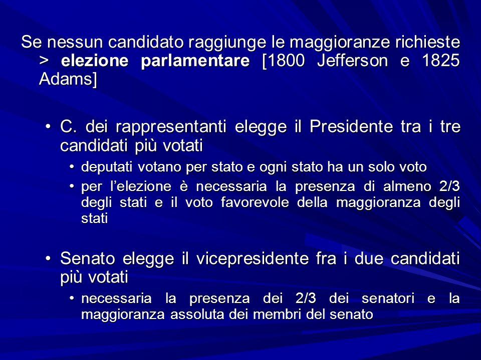 Se nessun candidato raggiunge le maggioranze richieste > elezione parlamentare [1800 Jefferson e 1825 Adams] C. dei rappresentanti elegge il President