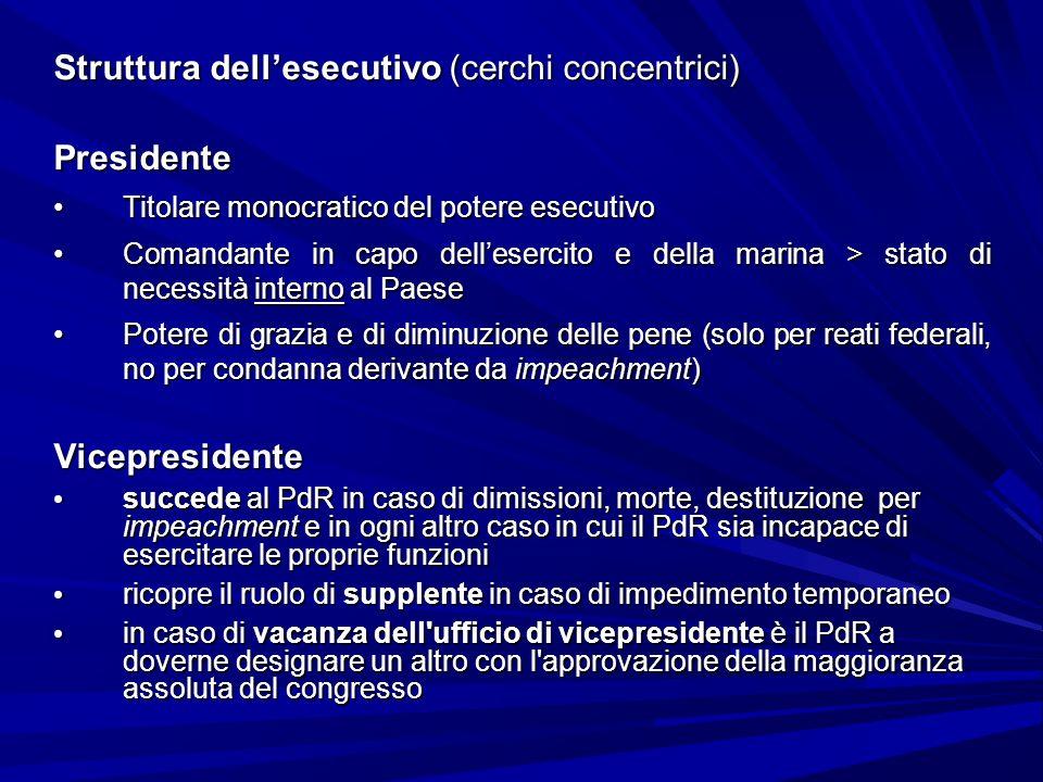Struttura dellesecutivo (cerchi concentrici) Presidente Titolare monocratico del potere esecutivoTitolare monocratico del potere esecutivo Comandante