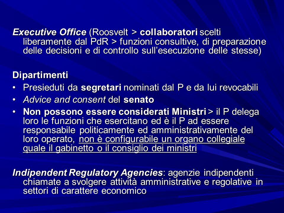 Executive Office (Roosvelt > collaboratori scelti liberamente dal PdR > funzioni consultive, di preparazione delle decisioni e di controllo sullesecuz