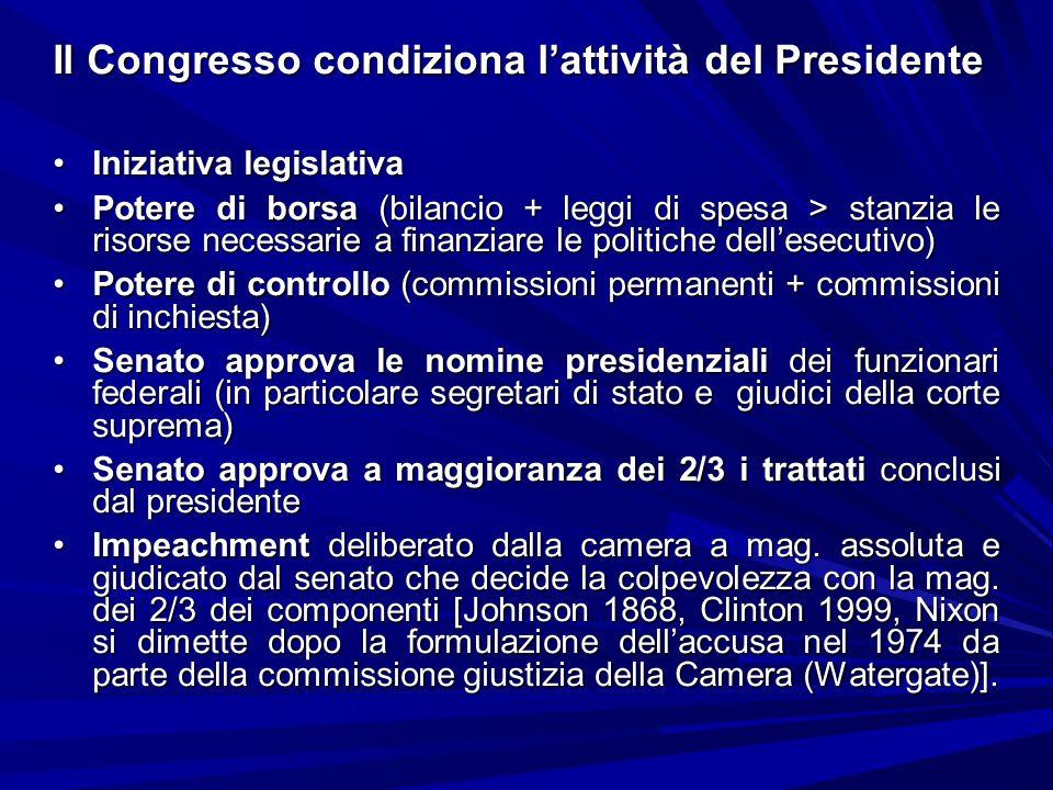 Il Congresso condiziona lattività del Presidente Iniziativa legislativaIniziativa legislativa Potere di borsa (bilancio + leggi di spesa > stanzia le