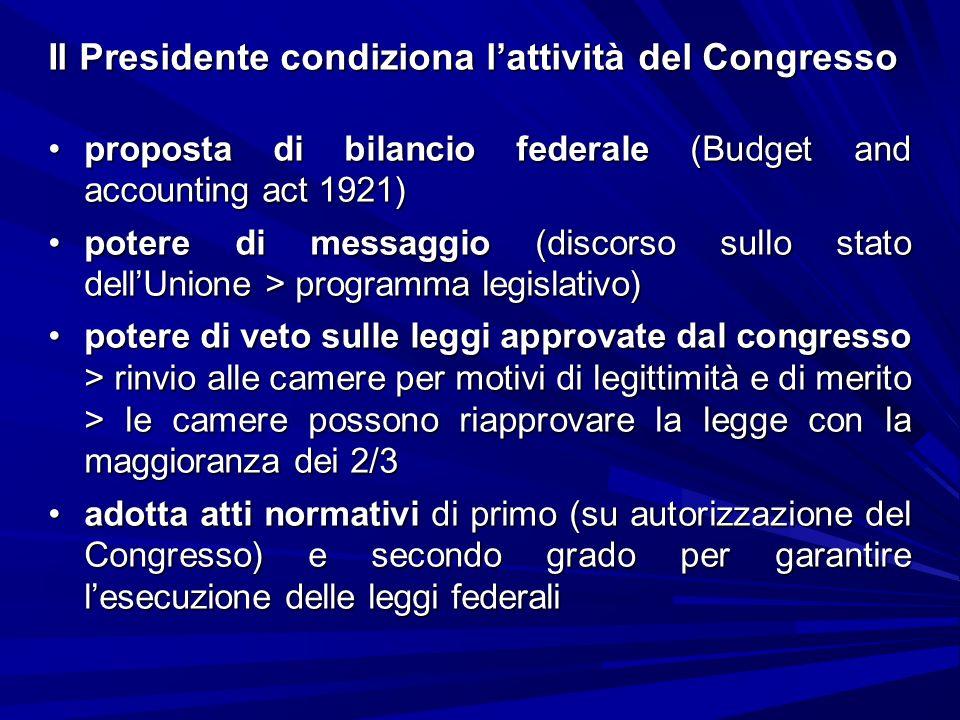 Il Presidente condiziona lattività del Congresso proposta di bilancio federale (Budget and accounting act 1921)proposta di bilancio federale (Budget a