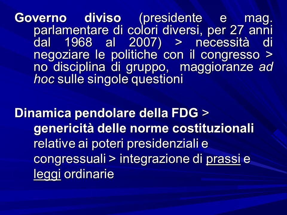 Governo diviso (presidente e mag. parlamentare di colori diversi, per 27 anni dal 1968 al 2007) > necessità di negoziare le politiche con il congresso