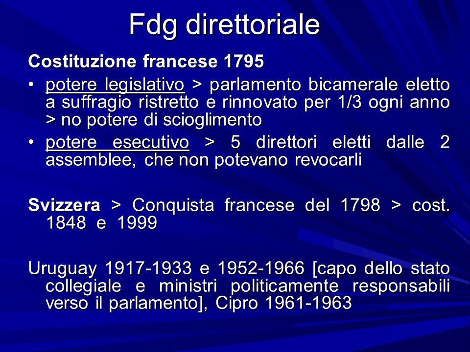 Fdg direttoriale Costituzione francese 1795 potere legislativo > parlamento bicamerale eletto a suffragio ristretto e rinnovato per 1/3 ogni anno > no