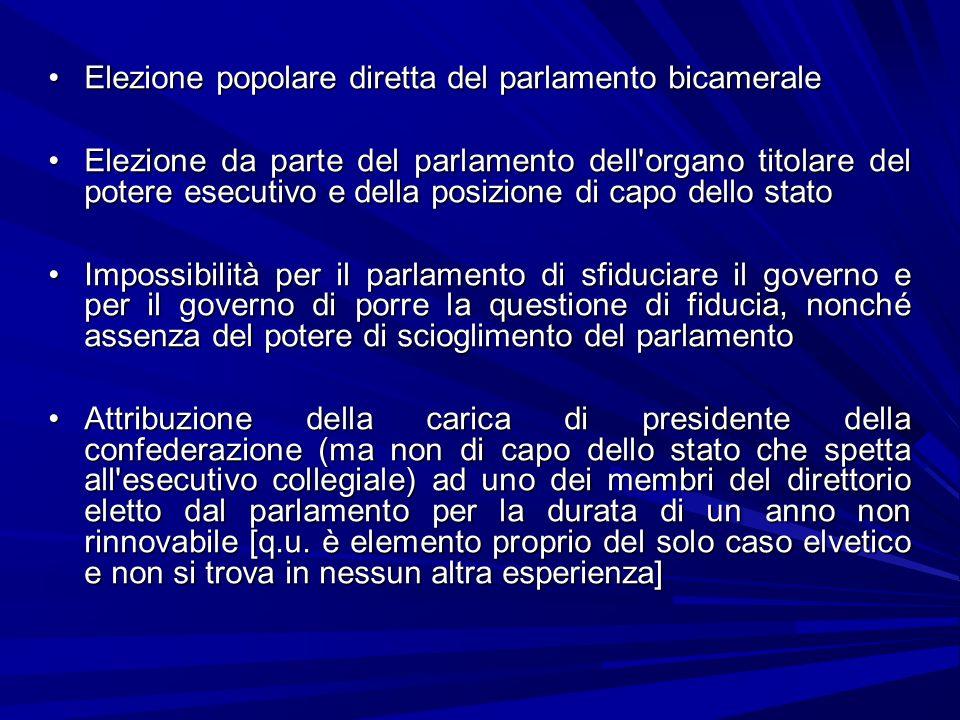 Elezione popolare diretta del parlamento bicameraleElezione popolare diretta del parlamento bicamerale Elezione da parte del parlamento dell'organo ti