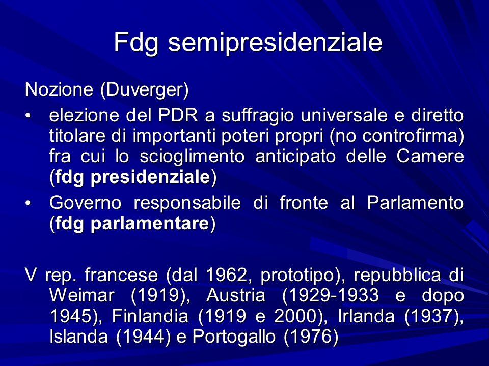 Fdg semipresidenziale Nozione (Duverger) elezione del PDR a suffragio universale e diretto titolare di importanti poteri propri (no controfirma) fra c