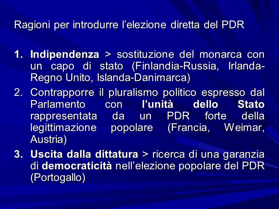 Ragioni per introdurre lelezione diretta del PDR 1.Indipendenza > sostituzione del monarca con un capo di stato (Finlandia-Russia, Irlanda- Regno Unit