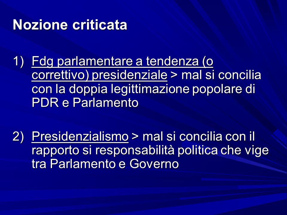 Nozione criticata 1)Fdg parlamentare a tendenza (o correttivo) presidenziale > mal si concilia con la doppia legittimazione popolare di PDR e Parlamen