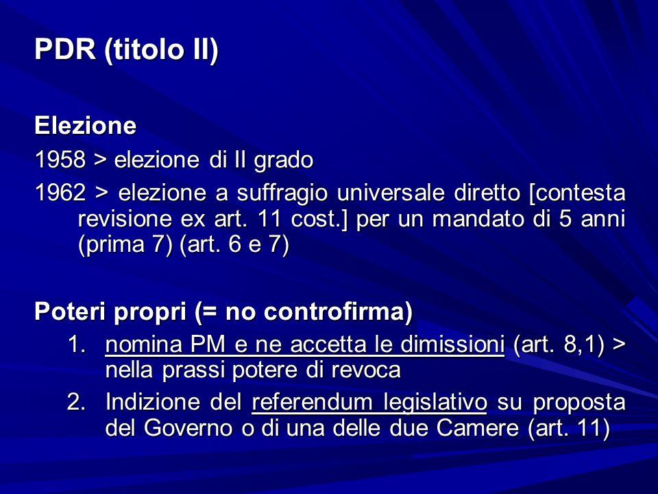 PDR (titolo II) Elezione 1958 > elezione di II grado 1962 > elezione a suffragio universale diretto [contesta revisione ex art. 11 cost.] per un manda
