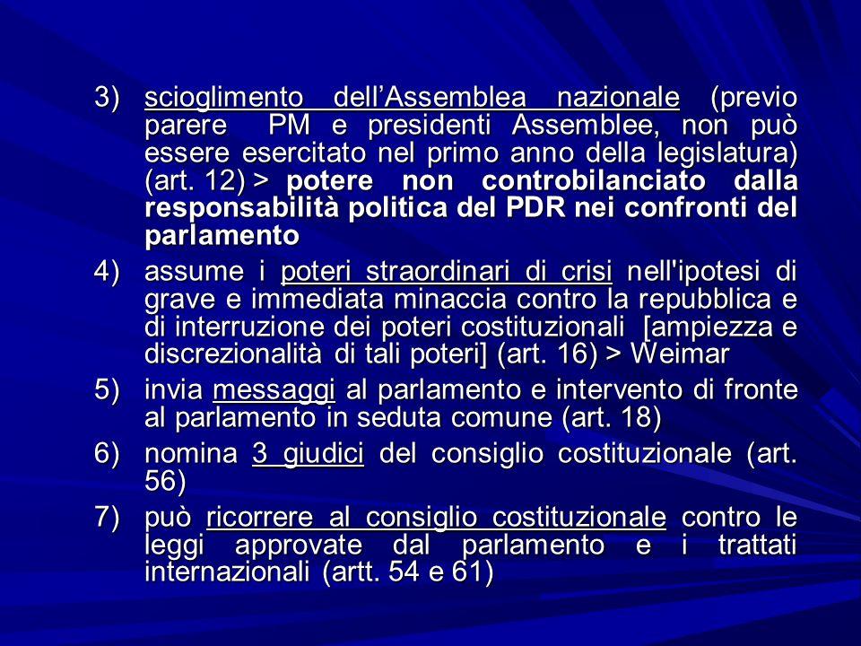 3)scioglimento dellAssemblea nazionale (previo parere PM e presidenti Assemblee, non può essere esercitato nel primo anno della legislatura) (art. 12)