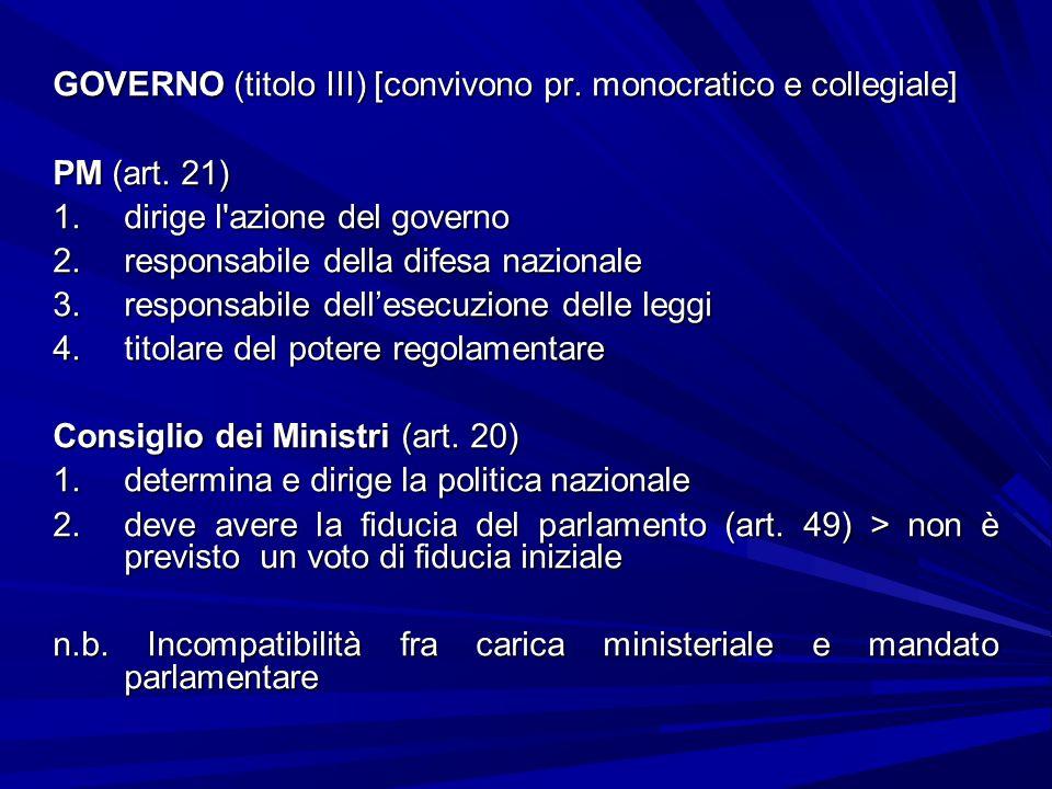 GOVERNO (titolo III) [convivono pr. monocratico e collegiale] PM (art. 21) 1.dirige l'azione del governo 2.responsabile della difesa nazionale 3.respo