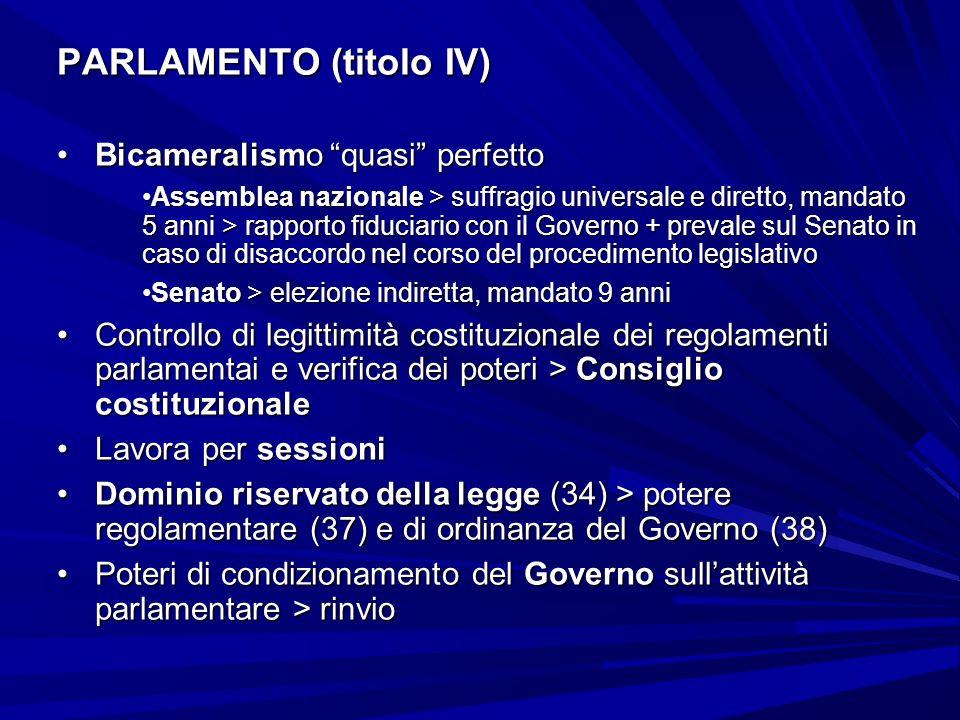 PARLAMENTO (titolo IV) Bicameralismo quasi perfettoBicameralismo quasi perfetto Assemblea nazionale > suffragio universale e diretto, mandato 5 anni >