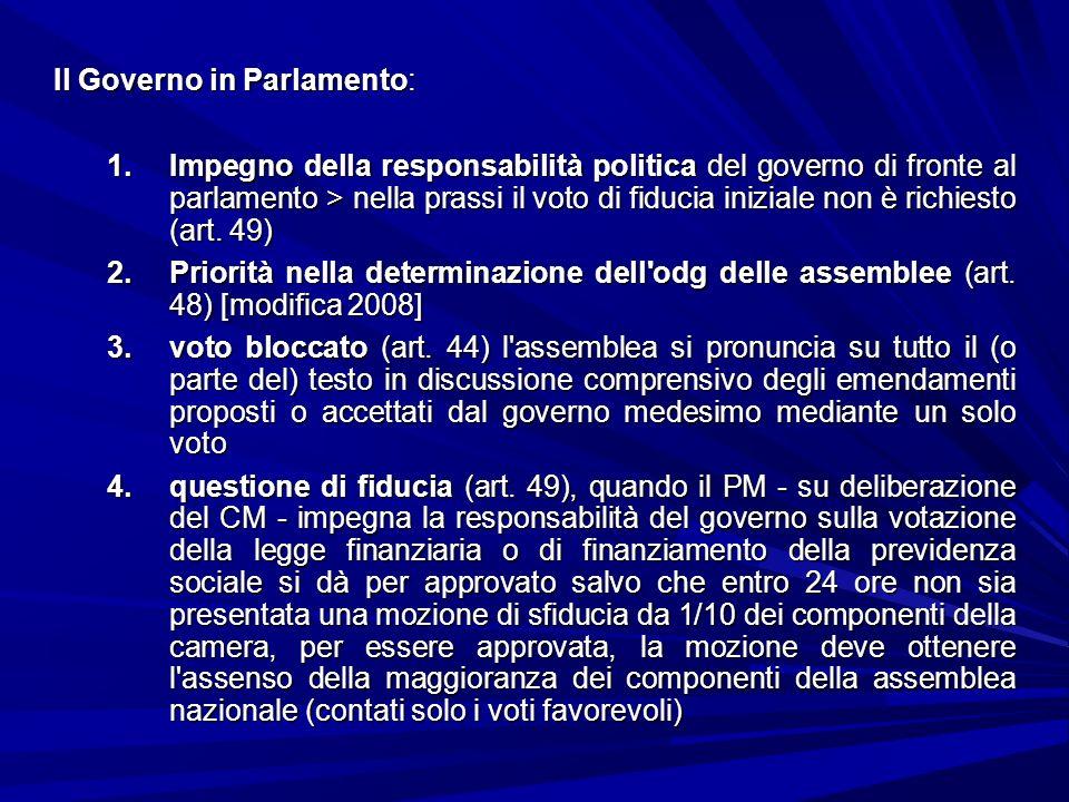Il Governo in Parlamento: 1.Impegno della responsabilità politica del governo di fronte al parlamento > nella prassi il voto di fiducia iniziale non è