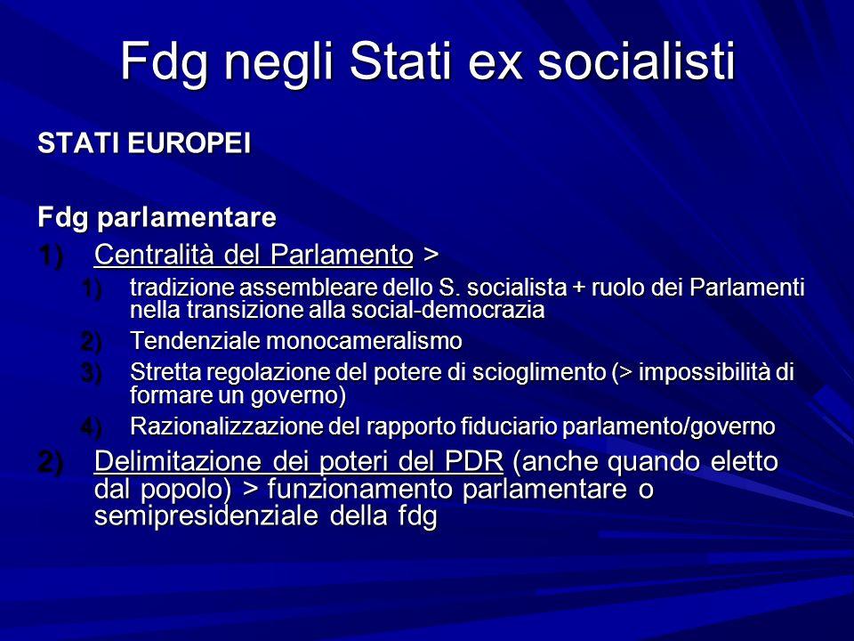 Fdg negli Stati ex socialisti STATI EUROPEI Fdg parlamentare 1)Centralità del Parlamento > 1)tradizione assembleare dello S. socialista + ruolo dei Pa