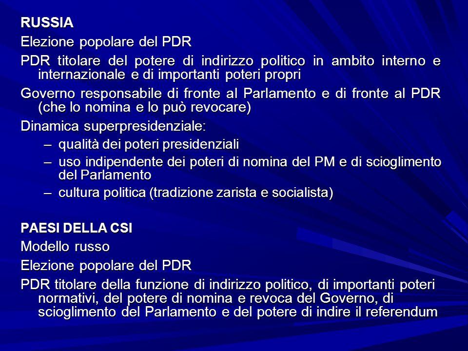 RUSSIA Elezione popolare del PDR PDR titolare del potere di indirizzo politico in ambito interno e internazionale e di importanti poteri propri Govern