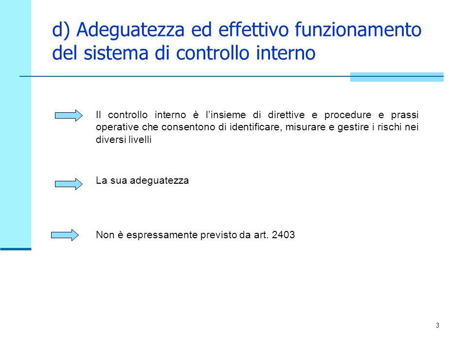 3 d) Adeguatezza ed effettivo funzionamento del sistema di controllo interno Il controllo interno è linsieme di direttive e procedure e prassi operati