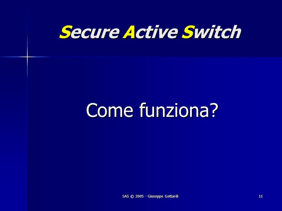 SAS © 2005 - Giuseppe Gottardi11 Secure Active Switch Come funziona?