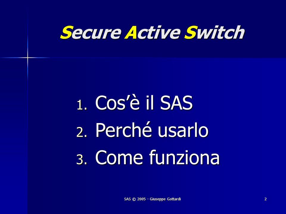 SAS © 2005 - Giuseppe Gottardi2 Secure Active Switch 1. Cosè il SAS 2. Perché usarlo 3. Come funziona