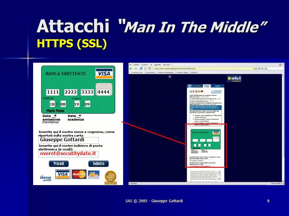 SAS © 2005 - Giuseppe Gottardi8 Attacchi Man In The Middle HTTPS (SSL) 1111 2222 3333 4444 18 0819 09 Giuseppe Gottardi overet@secutitydate.it