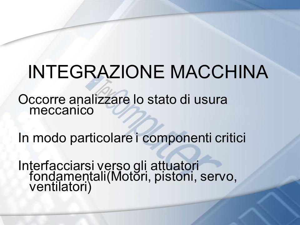 INTEGRAZIONE MACCHINA Occorre analizzare lo stato di usura meccanico In modo particolare i componenti critici Interfacciarsi verso gli attuatori fonda