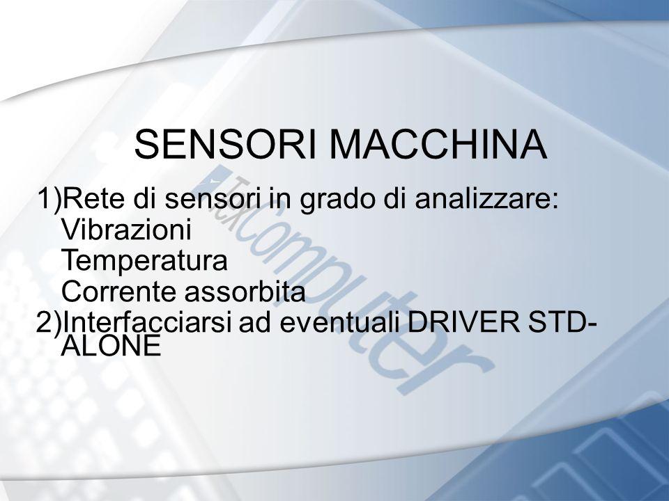 SENSORI MACCHINA 1)Rete di sensori in grado di analizzare: Vibrazioni Temperatura Corrente assorbita 2)Interfacciarsi ad eventuali DRIVER STD- ALONE