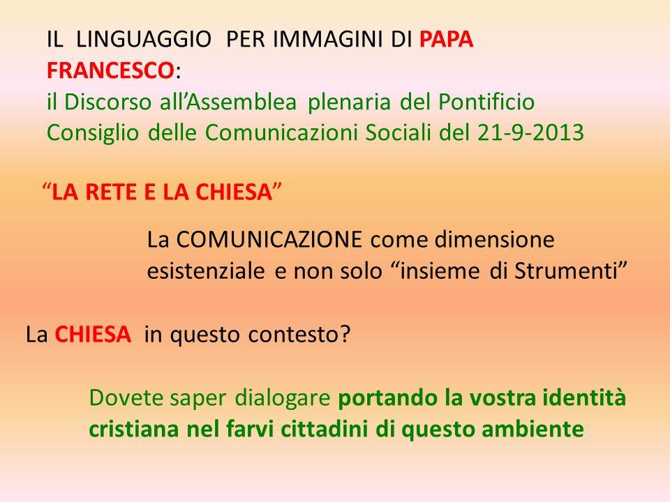 IL LINGUAGGIO PER IMMAGINI DI PAPA FRANCESCO: il Discorso allAssemblea plenaria del Pontificio Consiglio delle Comunicazioni Sociali del 21-9-2013 LA
