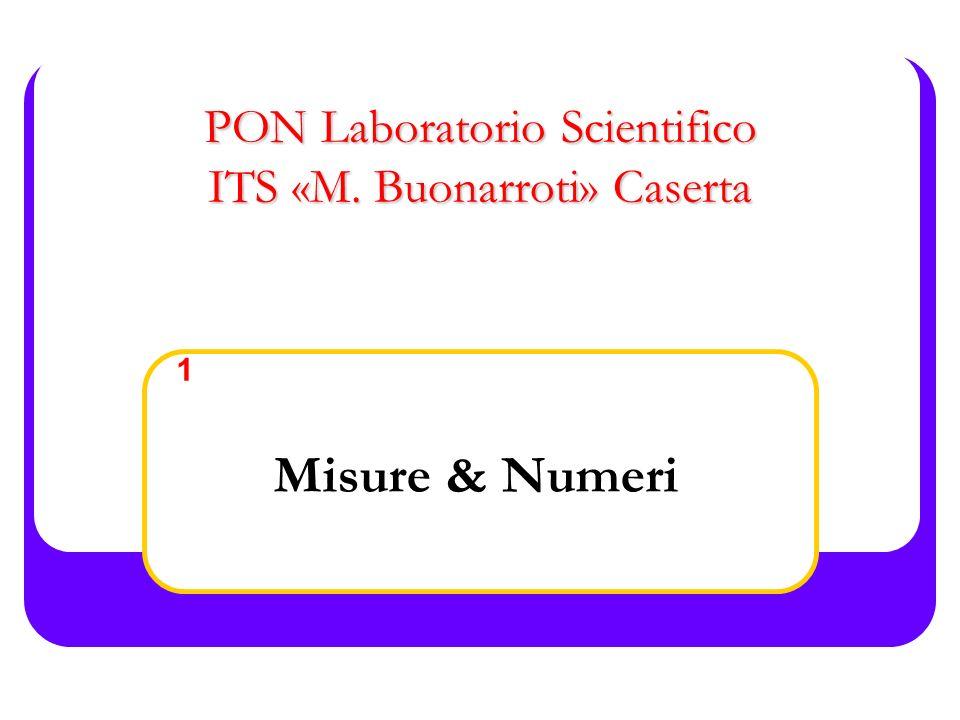 1- Misure & Numeri PON Laboratorio Scientifico Presentazione della Misura Errore (incertezza) esplicito: x±Δx (x± σ) I numeri che devono essere usati nei calcoli possono essere tenuti con una cifra significativa in più rispetto a quello richiesto nel risultato finale per ridurre le inaccuratezze introdotte dagli arrotondamenti.