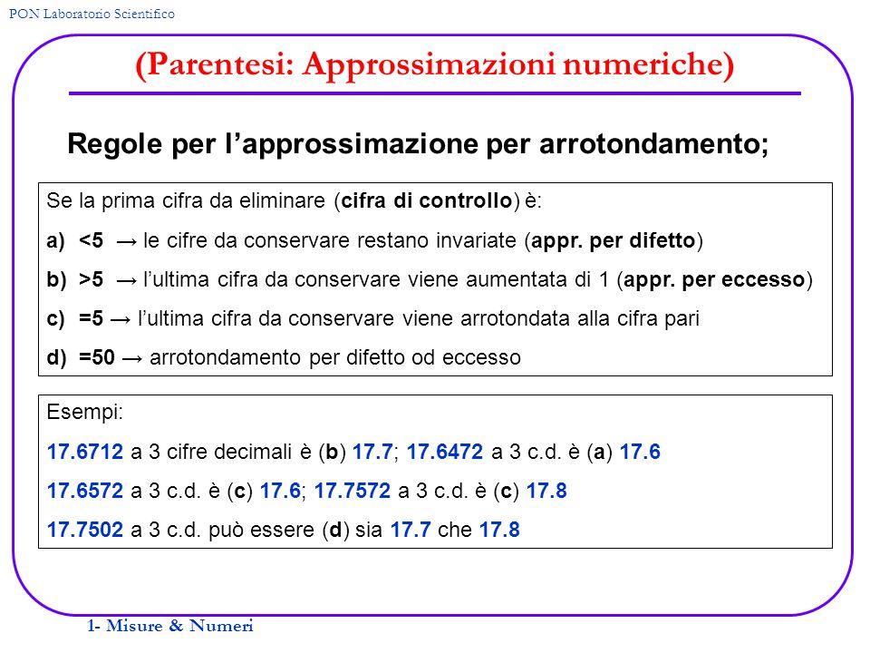 1- Misure & Numeri PON Laboratorio Scientifico (Parentesi: Approssimazioni numeriche) Regole per lapprossimazione per arrotondamento; Se la prima cifr