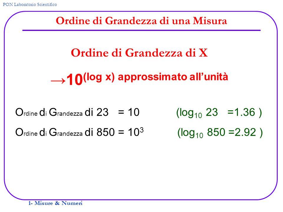 1- Misure & Numeri PON Laboratorio Scientifico Ordine di Grandezza di una Misura Ordine di Grandezza di X O rdine d i G randezza di 23 = 10 (log 10 23