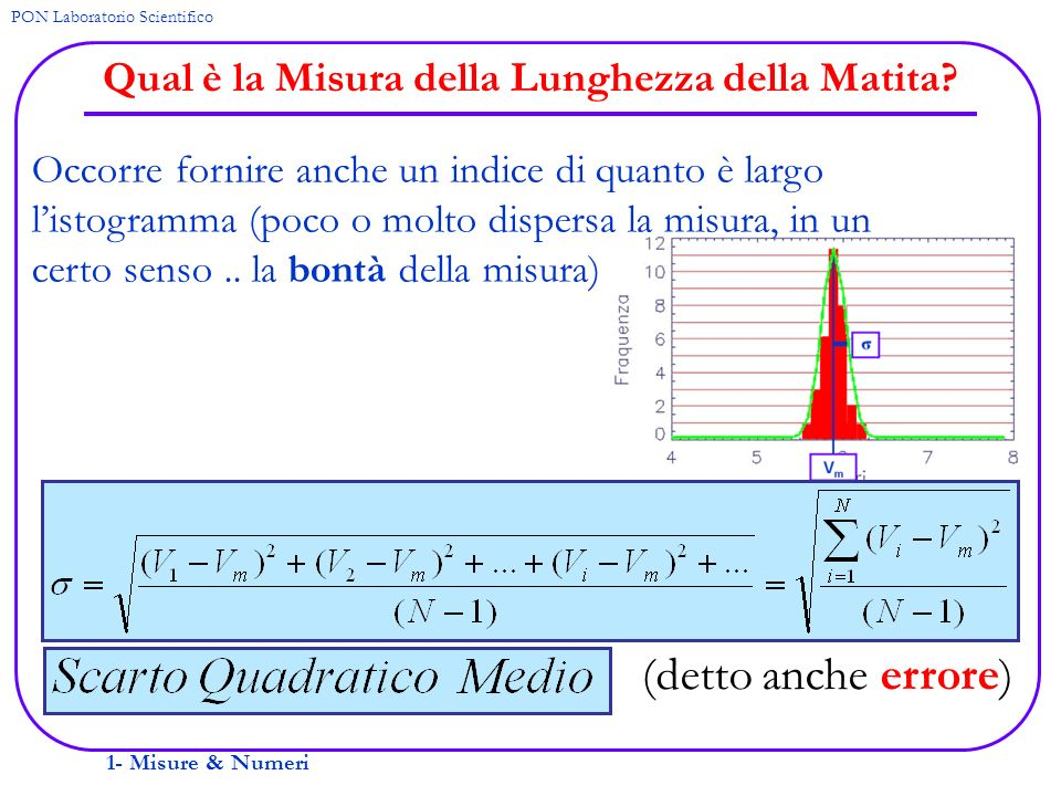 1- Misure & Numeri PON Laboratorio Scientifico Qual è la Misura della Lunghezza della Matita? Occorre fornire anche un indice di quanto è largo listog