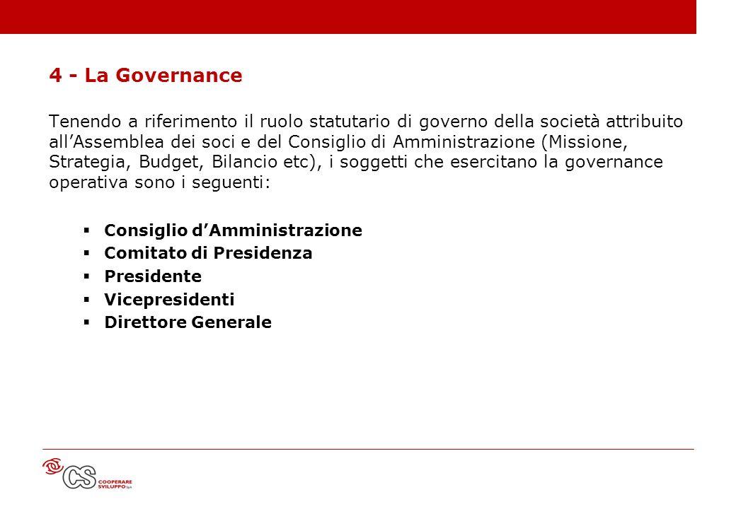 4 - La Governance Tenendo a riferimento il ruolo statutario di governo della società attribuito allAssemblea dei soci e del Consiglio di Amministrazio