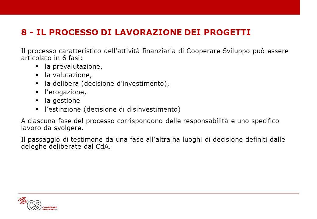 8 - IL PROCESSO DI LAVORAZIONE DEI PROGETTI Il processo caratteristico dellattività finanziaria di Cooperare Sviluppo può essere articolato in 6 fasi: