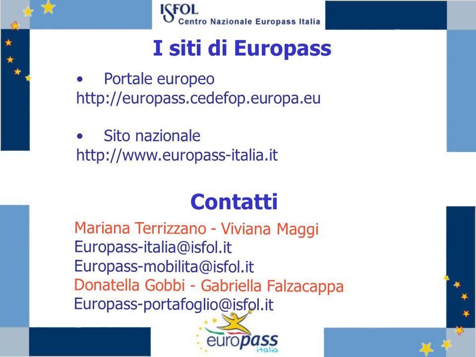 Portale europeo http://europass.cedefop.europa.eu Sito nazionale http://www.europass-italia.it I siti di Europass Contatti Mariana Terrizzano - Viviana Maggi Europass-italia@isfol.it Europass-mobilita@isfol.it Donatella Gobbi - Gabriella Falzacappa Europass-portafoglio@isfol.it