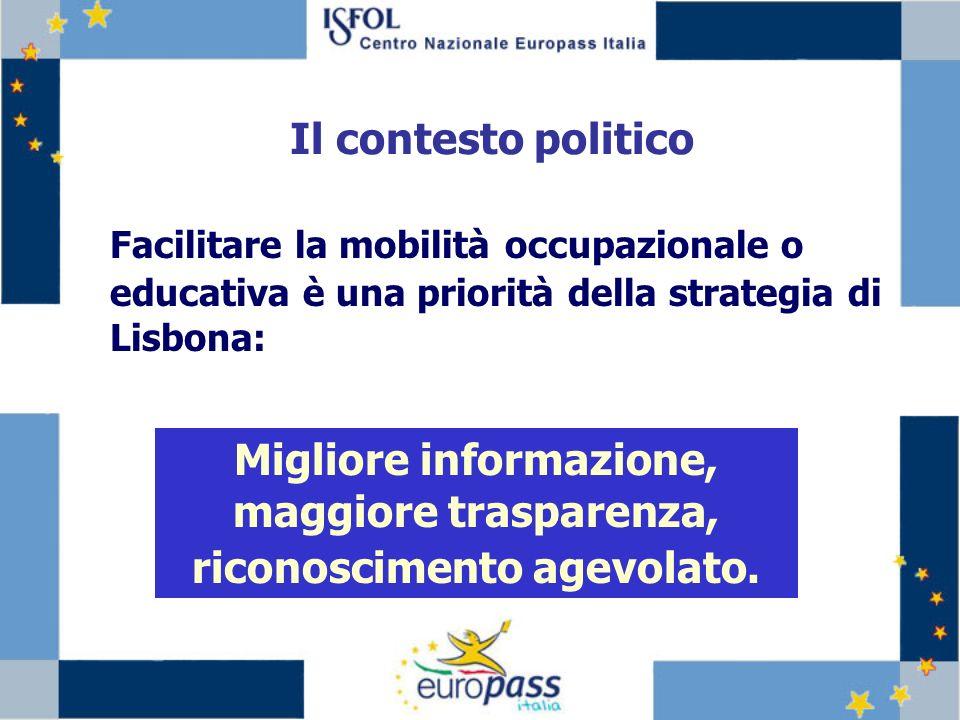 Facilitare la mobilità occupazionale o educativa è una priorità della strategia di Lisbona: Migliore informazione, maggiore trasparenza, riconoscimento agevolato.