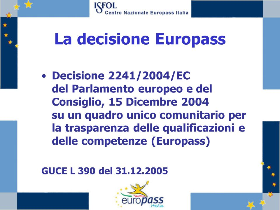La decisione Europass Decisione 2241/2004/EC del Parlamento europeo e del Consiglio, 15 Dicembre 2004 su un quadro unico comunitario per la trasparenza delle qualificazioni e delle competenze (Europass) GUCE L 390 del 31.12.2005