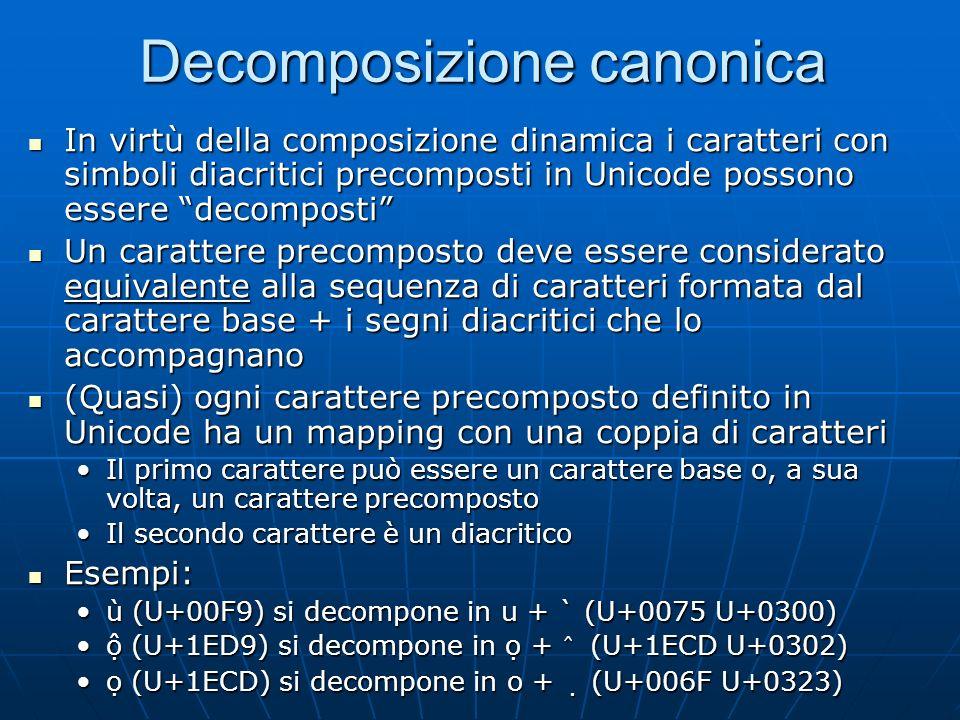 Composizione dinamica + Lidea è che si possono comporre segni diacritici (non spacing marks) con qualsiasi carattere Lidea è che si possono comporre s