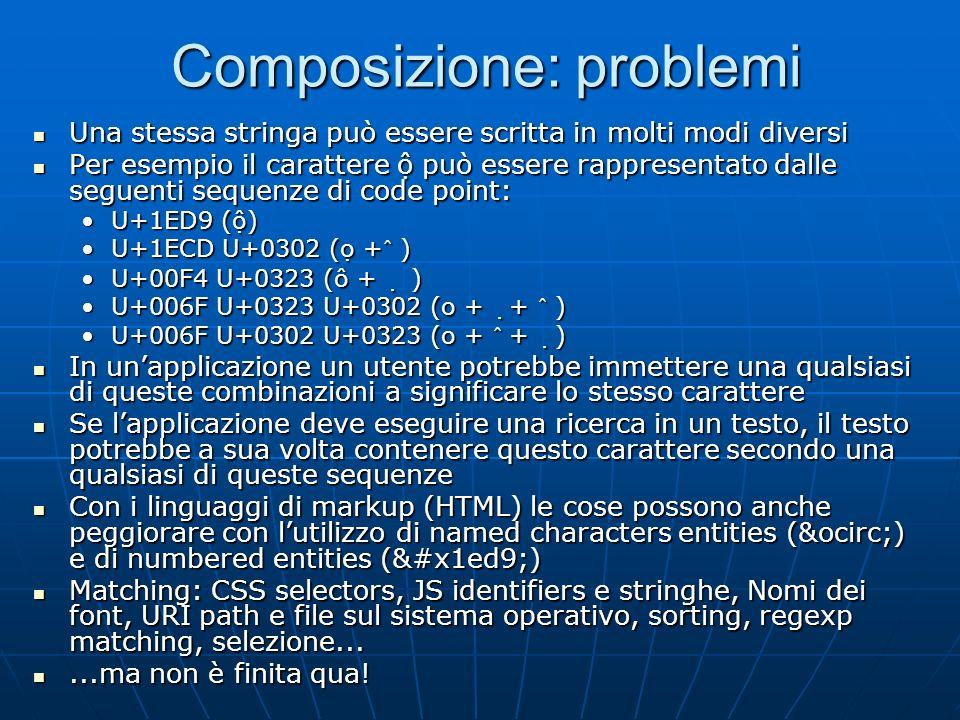Decomposizione canonica In virtù della composizione dinamica i caratteri con simboli diacritici precomposti in Unicode possono essere decomposti In vi