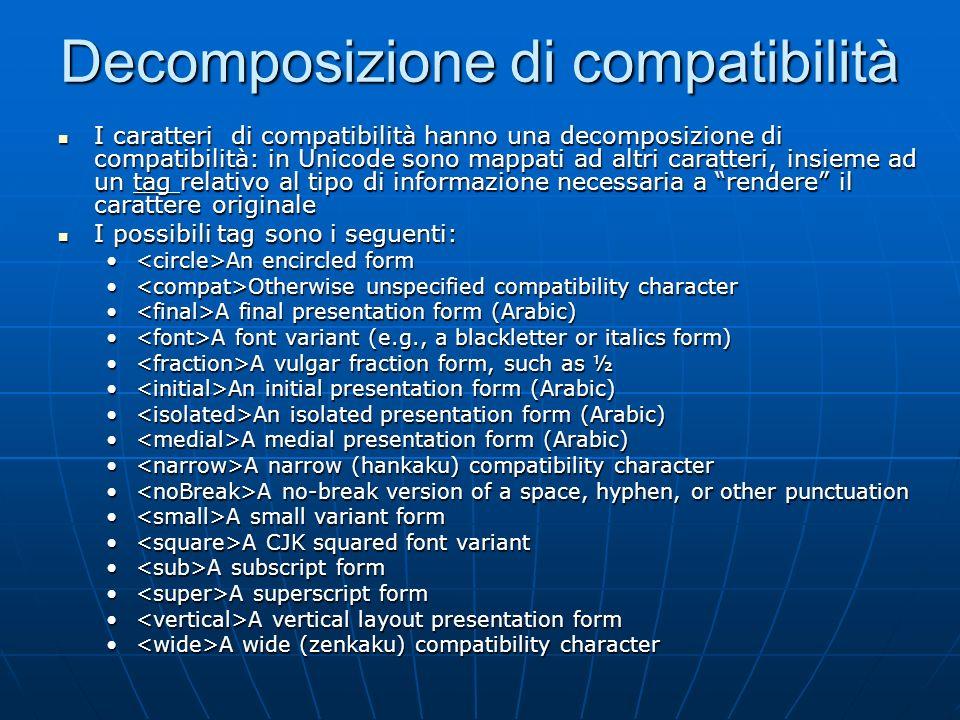 Caratteri di compatibilità In Unicode sono presenti molti caratteri che hanno significati e usi particolari In Unicode sono presenti molti caratteri c