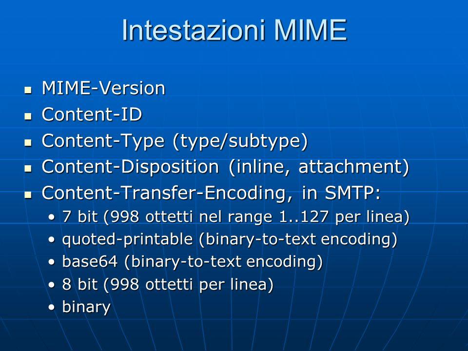 Internet Media Types Una sequenza di ottetti che rappresenta un testo può essere codificata in molti modi: linformazione sulla codifica diventa a ques