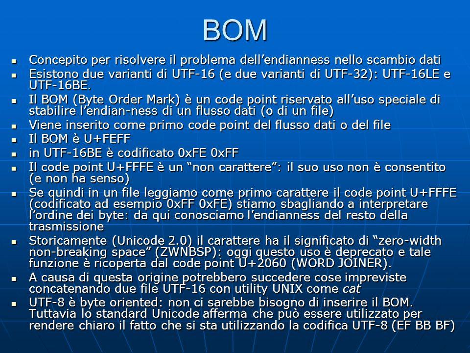 BOM Concepito per risolvere il problema dellendianness nello scambio dati Concepito per risolvere il problema dellendianness nello scambio dati Esistono due varianti di UTF-16 (e due varianti di UTF-32): UTF-16LE e UTF-16BE.