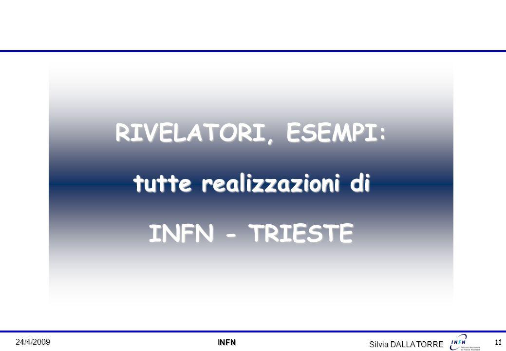 11 24/4/2009 INFN INFN RIVELATORI, ESEMPI: tutte realizzazioni di INFN - TRIESTE Silvia DALLA TORRE