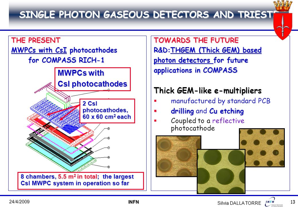 13 24/4/2009 INFN INFN Silvia DALLA TORRE SINGLE PHOTON GASEOUS DETECTORS AND TRIESTE THE PRESENT MWPCs with CsI photocathodes for COMPASS RICH-1 TOWARDS THE FUTURE R&D:THGEM (Thick GEM) based photon detectors for future applications in COMPASS Thick GEM-like e-multipliers manufactured by standard PCB drilling Cu etching drilling and Cu etching Coupled to a reflective photocathode MWPCs with CsI photocathodes 2 CsI photocathodes, 60 x 60 cm 2 each 8 chambers, 5.5 m 2 in total; the largest CsI MWPC system in operation so far